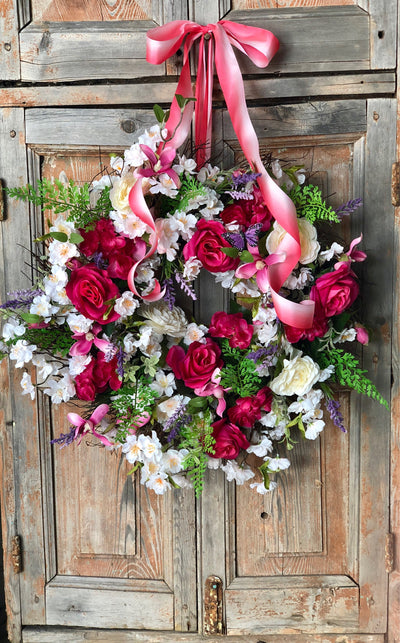 The Maude mixed floral spring wreath/Easter wreath for front door/spring wreath/wedding wreath/Easter decor/wedding decor