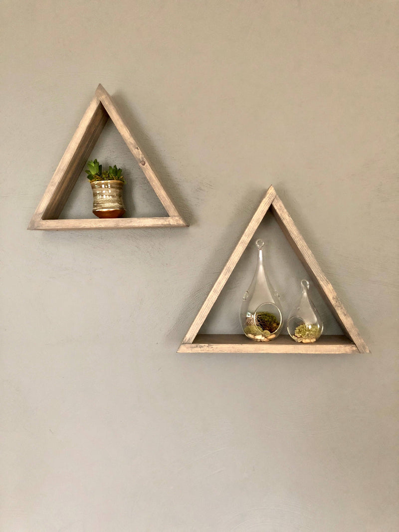 The Walton Triangle Wood Wall Shelf (set of 2)