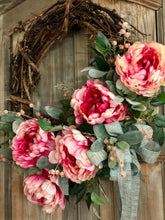 Load image into Gallery viewer, The Annabelle raspberry and cream peony wreath for front door~spring wreath~easter wreath~wedding wreath~farmhouse wreath~spring decor