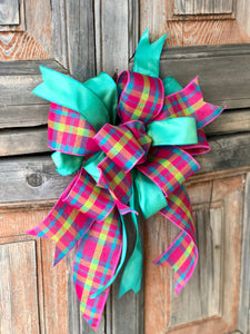 The Bianca Hot Pink Blue & Green Bow