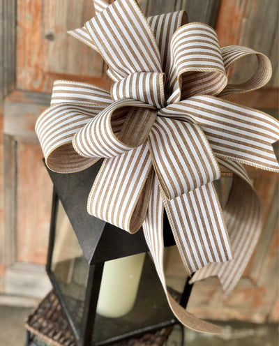 The Abby Beige & White Stripe Bow