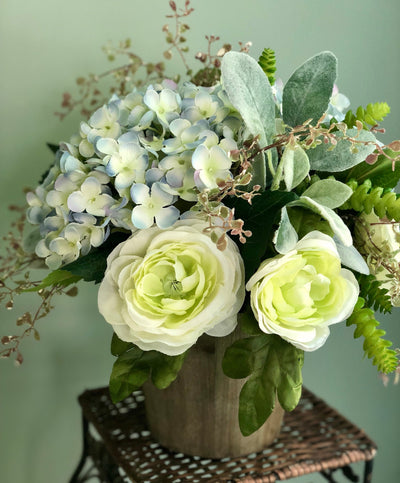 The Sylvia Hydrangea Succulent Centerpiece