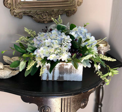 The Tahlia Blue & White Hydrangea Centerpiece