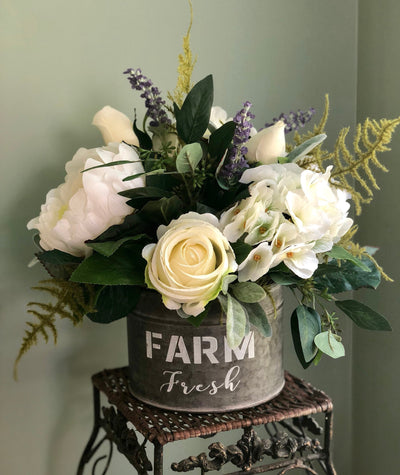 The Elise White Rose & Hydrangea Farmhouse Centerpiece