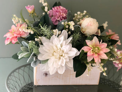 The Aaliyah Pink & White Dahlia Centerpiece