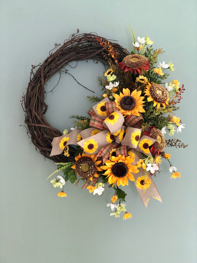 The Cynthia sunflower wreath for front door-summer wreath-fall farmhouse wreath-farmhouse decor-rustic wreath-autumn wreath