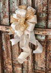The Julie Gold and White Christmas Tree Topper Bow With Long Streamers~Lantern bow~swag bow~mailbox bow~large bow for wreaths~christmas deco