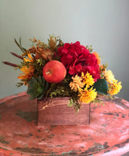 Load image into Gallery viewer, The Eve red and yellow centerpiece for tables~sunflower arrangement~fall centerpiece~summer kitchen arrangement~artichoke apple succulent