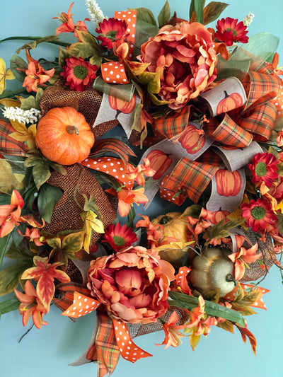 The Leslie Fall Pumpkin Wreath For Front Door~Autumn Wreath~pumpkin wreath~orange and copper peony wreath~farmhouse decor~fall decor