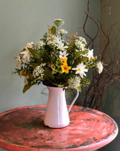 Load image into Gallery viewer, The Daisy summer vase arrangement for table~farmhouse centerpiece in metal pitcher~natural garden centerpiece~wildflower arrangement