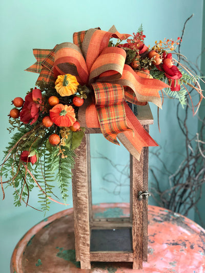 The Gabriella fall lantern swag~magnolia and pumpkin swag~lantern swag with bow~orange and burgundy lantern swag~autumn swag~summer swag