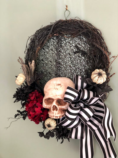 Mr. Brownstone Halloween wreath~Skull wreath~all hallows eve wreath~scary wreath~elegant halloween wreath~black white & red skeleton wreath