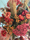 The Alexis fall farmhouse vase arrangement for table~autumn centerpiece~summer fall floral arrangement~copper rust silk flowers in metal jug