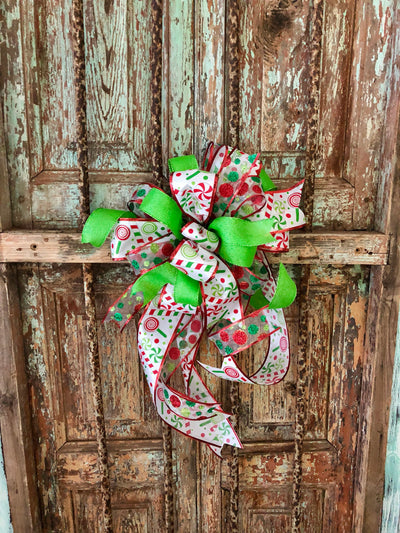 The Lucy red white and green Christmas tree topper bow~bow for wreaths~Christmas bow with streamers~mailbox bow~swag bow~lamppost bow