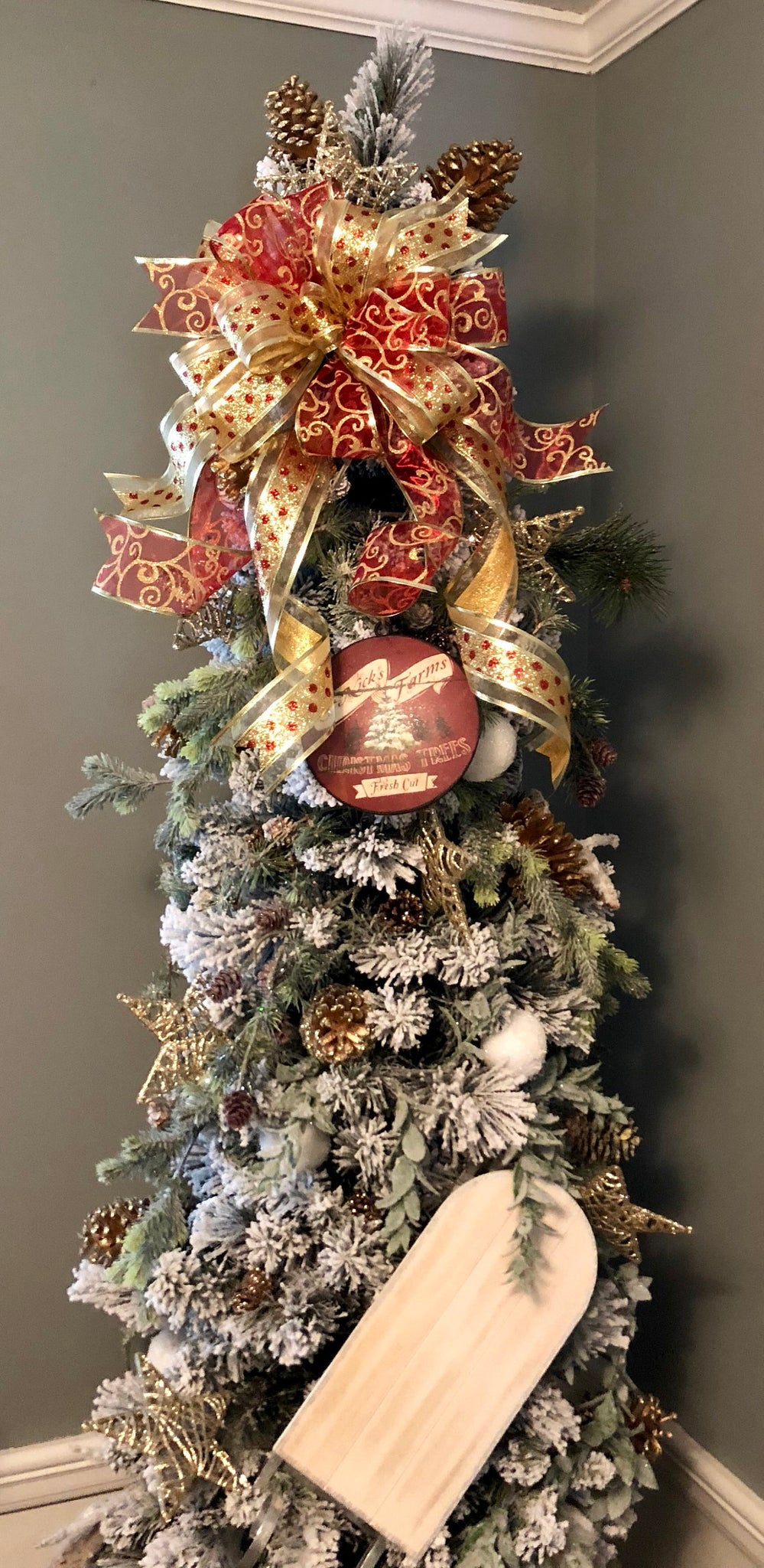 load image into gallery viewer the amy red and gold christmas tree topper bow