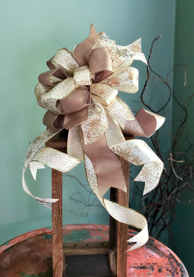 The Cassandra White and Gold Christmas Tree Topper Bow With Streamers~bow with long streamers~lantern bow~swag bow~mailbox bow~christmasdeco