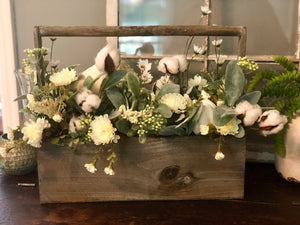 The Marybeth white and green farmhouse fall centerpiece for table~thanksgiving centerpiece~pumpkin centerpiece~shabby chic flowers~cottage