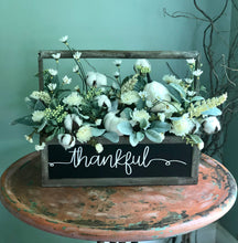 Load image into Gallery viewer, The Marybeth white and green farmhouse fall centerpiece for table~thanksgiving centerpiece~pumpkin centerpiece~shabby chic flowers~cottage