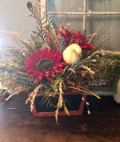 The Alejandra Tuscan farmhouse XL centerpiece for table~fall rustic centerpiece~sunflower natural arrangement~Thanksgiving floral
