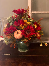 Load image into Gallery viewer, The Katrina fall centerpiece for tables~autumn arrangement~red and yellow silk floral arrangement for shelves~pumpkin fall rustic