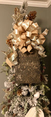 The Geraldine Christmas tree topper ornament~wreath alternative~christmas wreath with bow~metal seasons greetings sign with gold bow