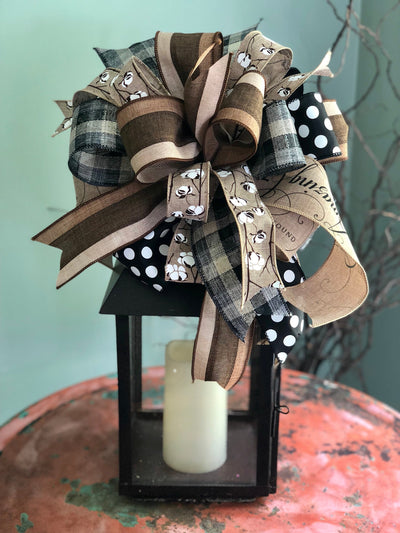 The Jolene rustic bow for wreaths~fall bow~mailbox bow~lantern bow~christmas bow~swag bow~country bow~primitive bow~farmhouse decor