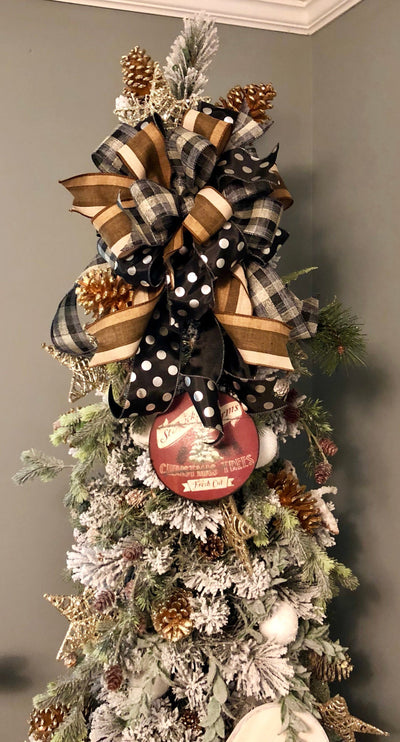 The Patrice Brown and Black Christmas Tree Topper bow~bow for wreaths~bow with long streamers~fall wreath bow~farmhouse bow~rustic bow