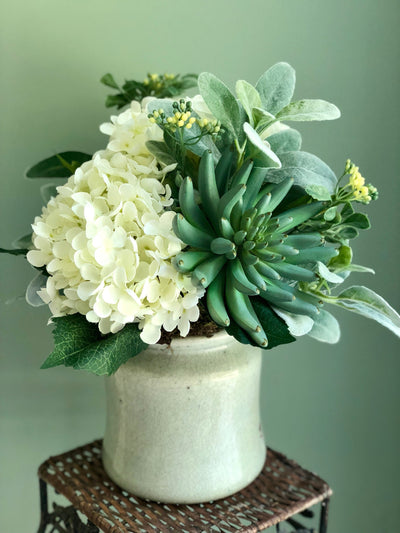The Hazel Hydrangea & Succulent Centerpiece