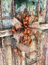 The Rosemary Fall Bow For Wreaths~Autumn Bow for lanterns~swag bow~orange and gold fall leaves farmhouse bow~mailbox bow~rustic bow