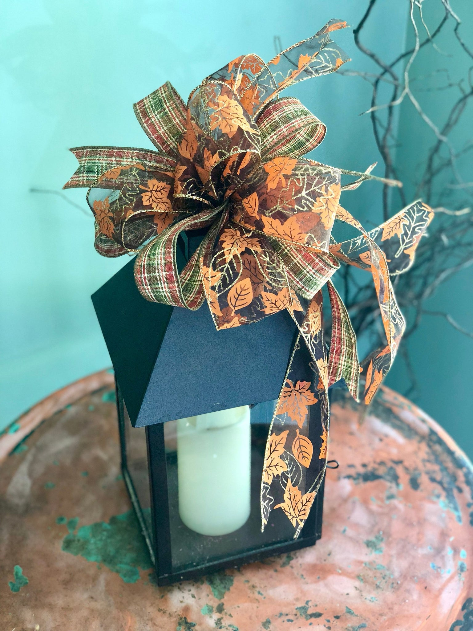 The Carrie Autumn Leaves Fall Farmhouse Bow For Wreaths – Crested Perch