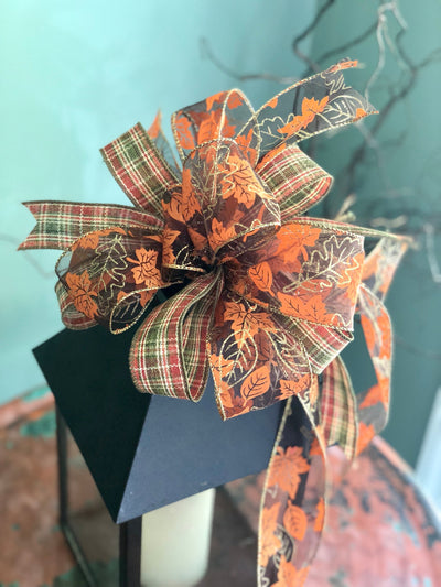 The Carrie fall bow for wreaths~farmhouse bow~autumn leaves bow~lantern bow~mailbox bow~rustic bow~copper and gold bow with streamers