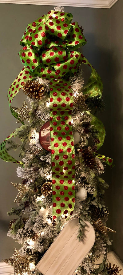 The Grinch Red and Green Polka Dot Christmas Tree Topper Bow~XL tree topper bow~grinch bow~Oversize bow for christmas trees