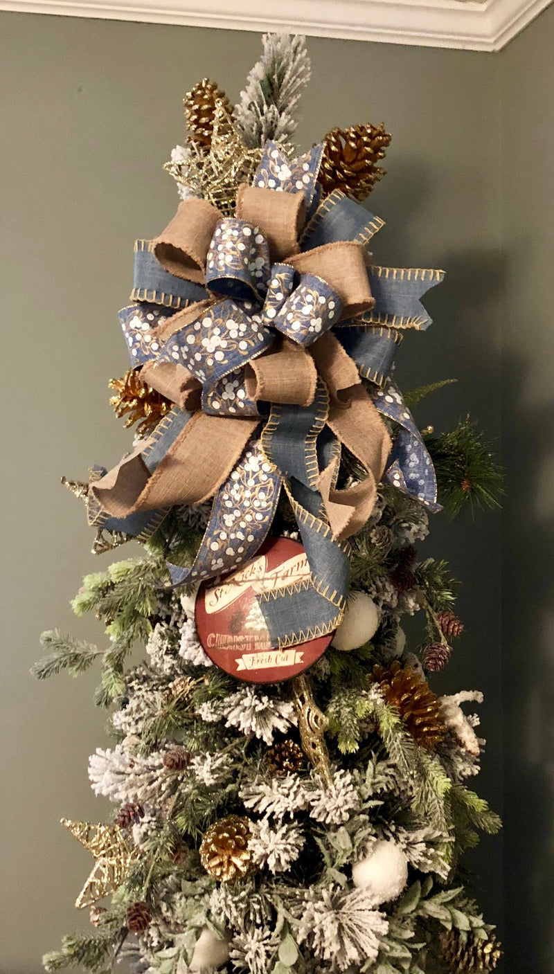The Emmanuelle Blue and Beige Christmas Tree Topper Bow~bow for wreaths~large bow with long streamers~farmhouse bow~fixer upper style bow