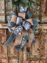 Load image into Gallery viewer, The Emmanuelle Blue and Beige Christmas Tree Topper Bow~bow for wreaths~large bow with long streamers~farmhouse bow~fixer upper style bow