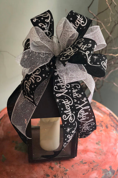 The Beth Black White And Silver Christmas Tree Topper Bow~Bow for wreaths~swag bow~mailbox bow~silent night bow~lamppost bow~lantern bow
