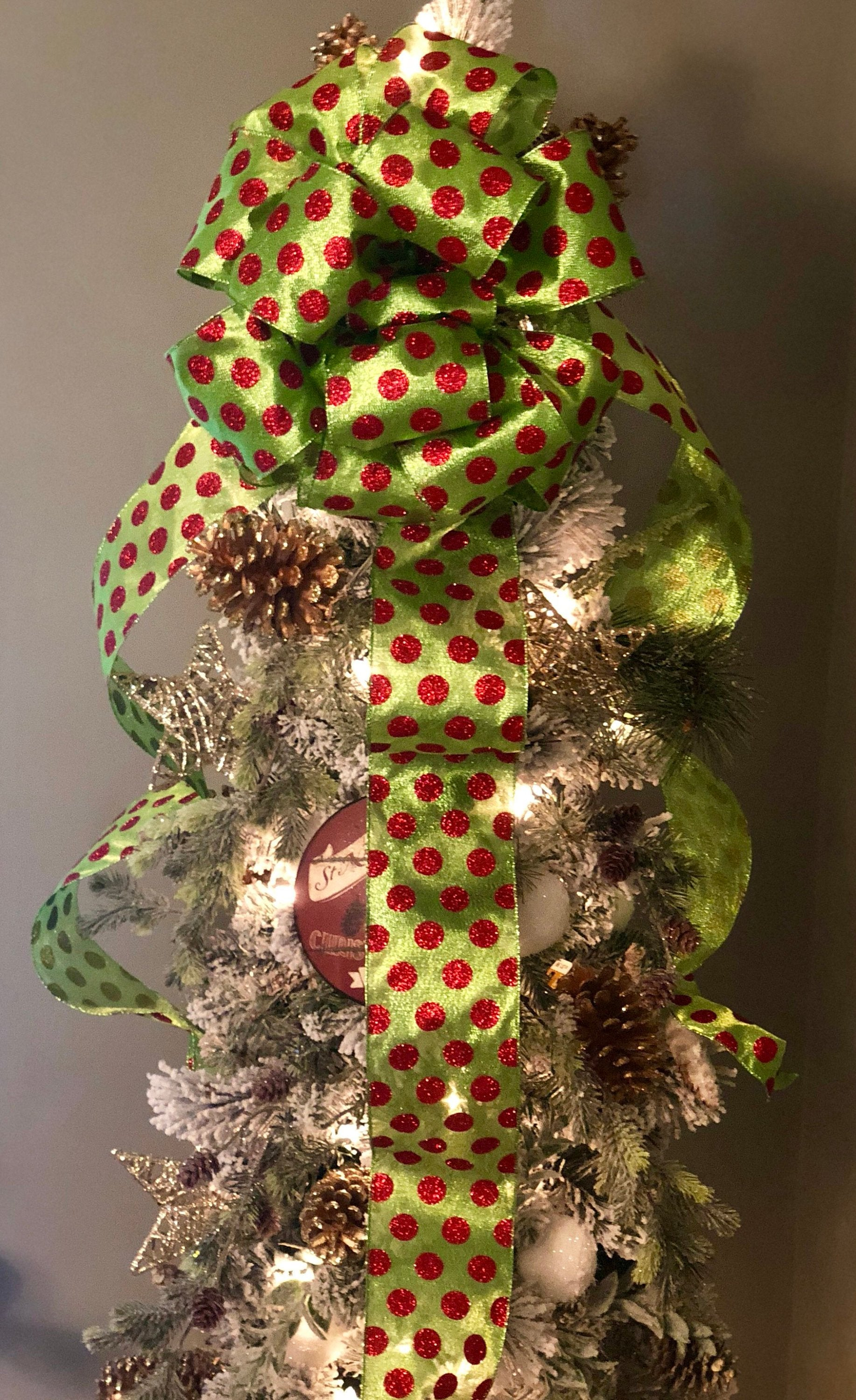 The Grinch Red Green Polka Dot Christmas Xl Tree Topper Bow