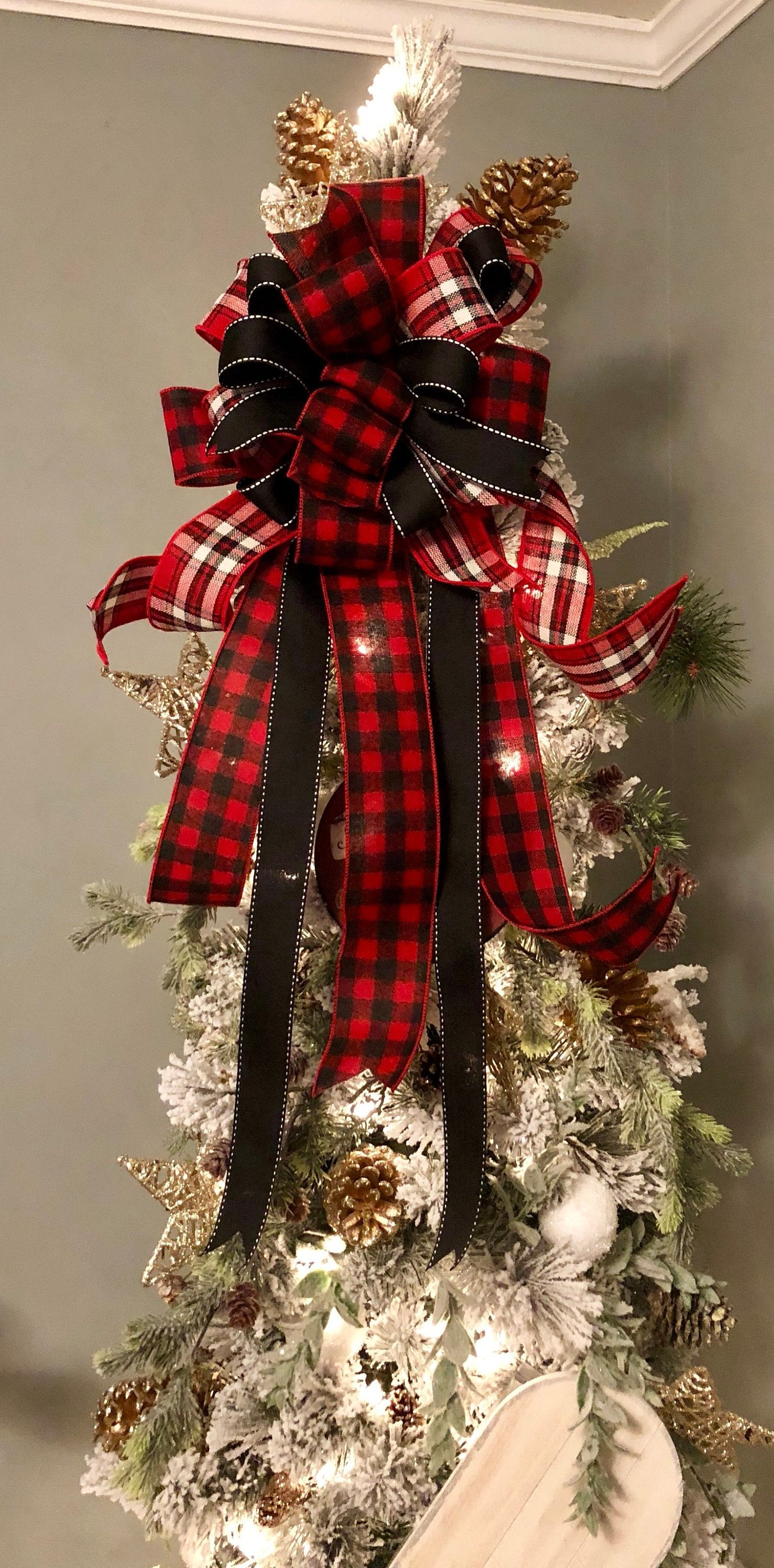 The Emerson Red White Black Buffalo Check Christmas Tree Topper Bow Crested Perch