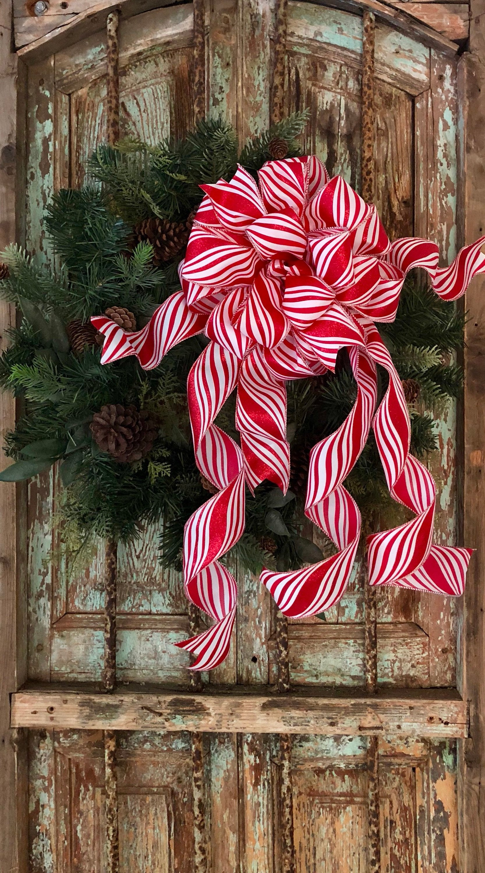The Peppermint Patty Red & White Christmas Tree Topper Bow - Crested Perch
