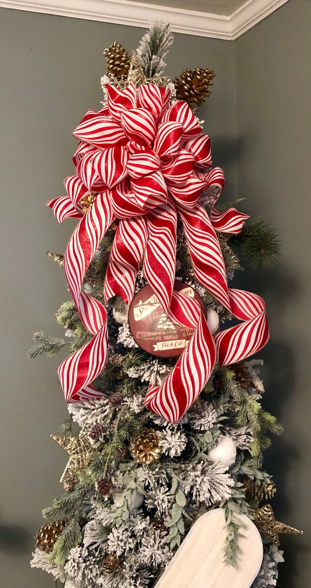 load image into gallery viewer the peppermint patty red and white christmas tree topper bow