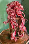 The Peppermint Patty Red and White Christmas Tree topper bow~bow with long streamers~mailbox bow~bow for wreaths~XL bow for christmas tree