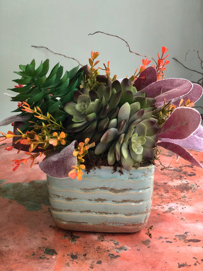 The Agatha Succulent Centerpiece for table~natural arrangement~minimalist arrangement~small centerpiece~farmhouse decor~office decor