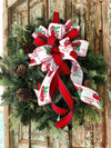 The Clementine Christmas Bow For Wreaths~red and white lantern bow~Vintage red truck pine trees ribbon~farmhouse rustic bow with streamers