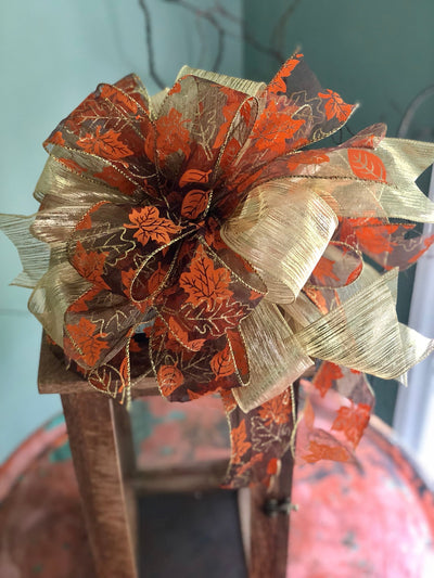 The Joan Fall Bow For Wreaths~Autumn Bow for lanterns~swag bow~orange and gold fall leaves farmhouse bow~mailbox bow~rustic bow