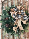 The Hayden Black and Tan Fall bow for wreaths~Autumn Lantern Bow~rustic fall decor~mailbox bow~swag bow~black and tan check fixer upper bow