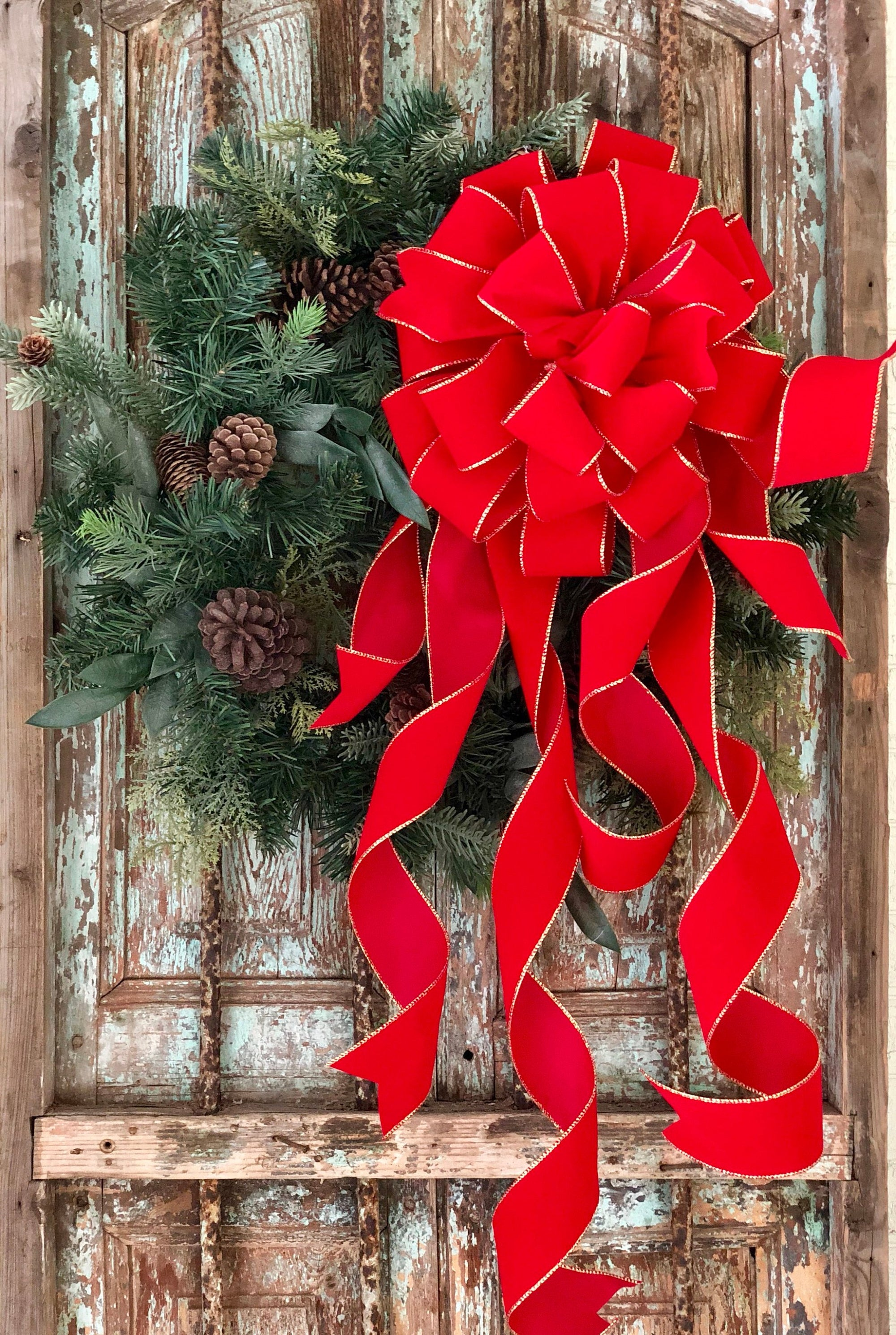 The Stella Red and Gold Velvet Christmas Tree Topper Bow~bow for wreaths~XL traditional christmas bow~oversize bow with long streamers