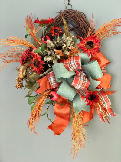 The Katarina Farmhouse Fall Wreath For Front Door~Autumn wreath~sunflower rustic wreath~coastal fall wreath~Orange Copper Sage Green