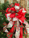 The Belle Green Red and White Christmas Tree topper bow~bow with long streamers~mailbox bow~bow for wreaths~Plaid bow for christmas tree
