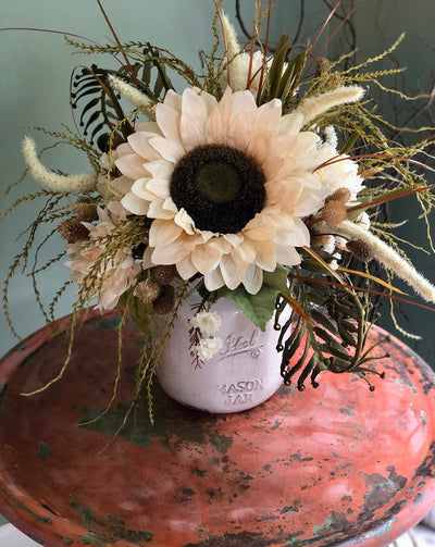 The Ellie Mae Cream Mason Jar Farmhouse Centerpiece For Table~white fall centerpiece~rustic wildflower arrangement~sunflower and fern