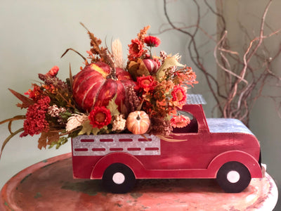 The Lynne Fall Vintage Truck With Pumpkin Arrangement for table~rustic farmhouse centerpiece~vintage truck with pumpkins~harvest arrangement