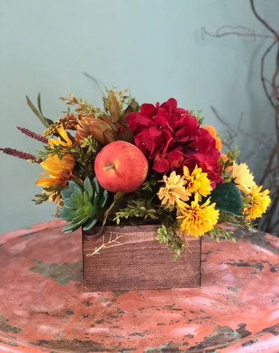 The Eve red and yellow centerpiece for tables~sunflower arrangement~fall centerpiece~summer kitchen arrangement~artichoke apple succulent